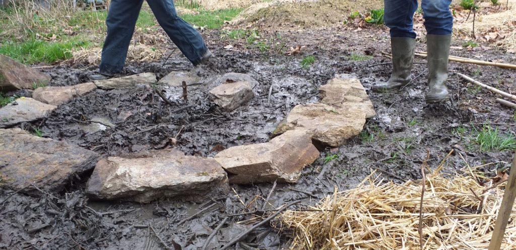 Le Temps des Cerises Janvier au Jardin : Création de butte de culture et d'une spirale aromatique